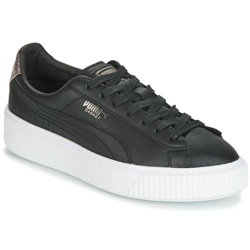 Cipők Női Rövid szárú edzőcipők Puma WN SUEDE PLATFM OPULENT.BL Fekete