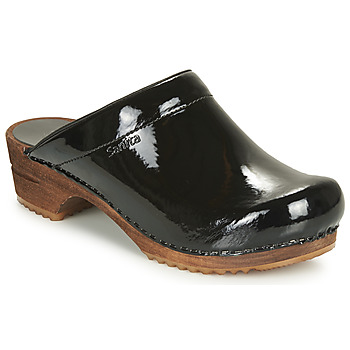 Cipők Női Klumpák Sanita CLASSIC PATENT Fekete