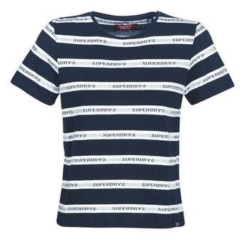 Ruhák Női Rövid ujjú pólók Superdry COTE STRIPE TEXT TEE Tengerész