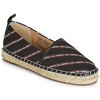 Cipők Női Gyékény talpú cipők Karl Lagerfeld KAMINI STRIPE LOGO SLIP Fekete