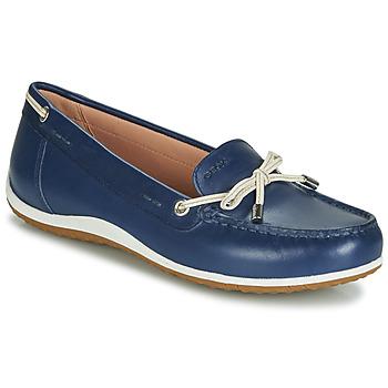 Cipők Női Mokkaszínek Geox D VEGA MOC Kék / Bőrszínű