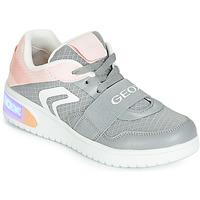 Cipők Lány Magas szárú edzőcipők Geox J XLED GIRL Szürke / Rózsaszín / Led