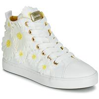 Cipők Lány Magas szárú edzőcipők Geox JR CIAK GIRL Fehér / Virágok / Citromsárga