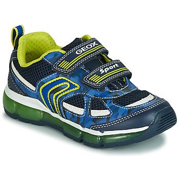 Cipők Fiú Rövid szárú edzőcipők Geox J ANDROID BOY Tengerész / Citromsárga / Led