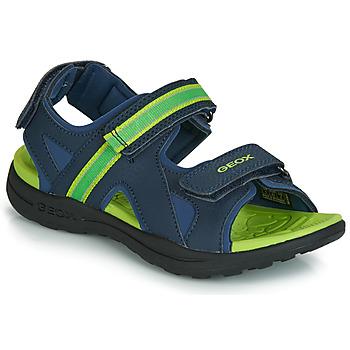 Cipők Fiú Sportszandálok Geox J GLEEFUL BOY Kék / Citromsárga