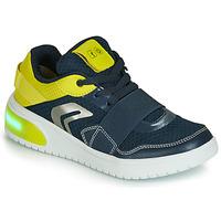 Cipők Fiú Rövid szárú edzőcipők Geox J XLED BOY Kék / Citromsárga / Led