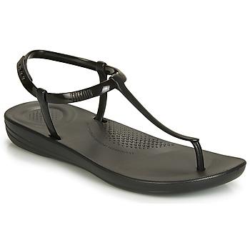Cipők Női Lábujjközös papucsok FitFlop IQUSHION SPLASH - PEARLISED Fekete