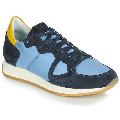 Cipők Női Rövid szárú edzőcipők Philippe Model MONACO VINTAGE BASIC Kék / Citromsárga