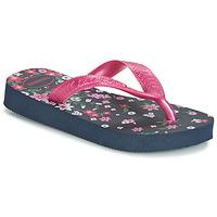 Cipők Lány Lábujjközös papucsok Havaianas KIDS FLORES Tengerész / Rózsaszín