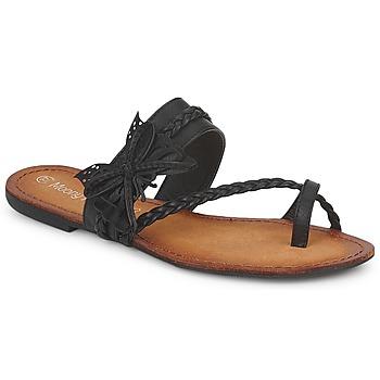 Cipők Női Lábujjközös papucsok Moony Mood LILIANA Fekete