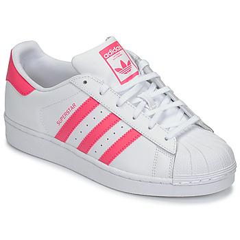 Cipők Lány Rövid szárú edzőcipők adidas Originals SUPERSTAR J Fehér / Rózsaszín