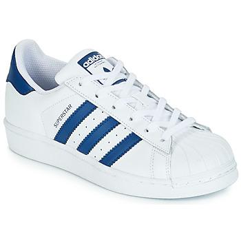 Cipők Gyerek Rövid szárú edzőcipők adidas Originals SUPERSTAR J Fehér / Kék