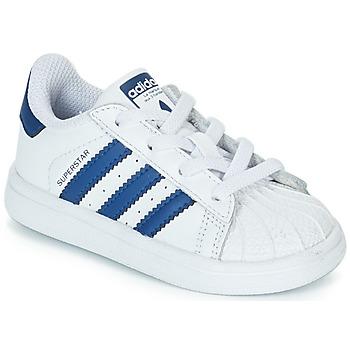 Cipők Gyerek Rövid szárú edzőcipők adidas Originals SUPERSTAR EL Fehér / Kék