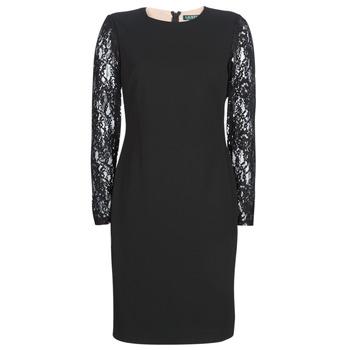 Ruhák Női Rövid ruhák Lauren Ralph Lauren LACE PANEL JERSEY DRESS Fekete