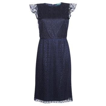 Ruhák Női Rövid ruhák Lauren Ralph Lauren LACE CAP SLEEVE DRESS Tengerész