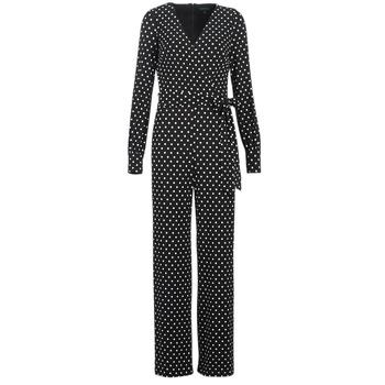 Ruhák Női Overálok Lauren Ralph Lauren POLKA DOT WIDE LEG JUMPSUIT Fekete  / Fehér