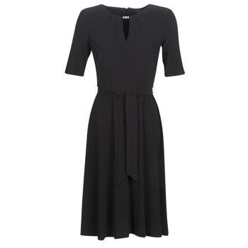 Ruhák Női Rövid ruhák Lauren Ralph Lauren 3/4 SLEEVE  JERSEY DAY DRESS Fekete