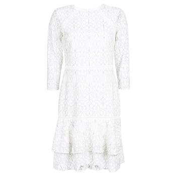 Ruhák Női Rövid ruhák Lauren Ralph Lauren LONG SLEEVE-LACE DAY DRESS Fehér / Fekete