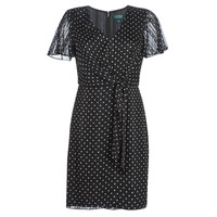 Ruhák Női Rövid ruhák Lauren Ralph Lauren POLKA DOT-SHORT SLEEVE-DAY DRESS Fekete