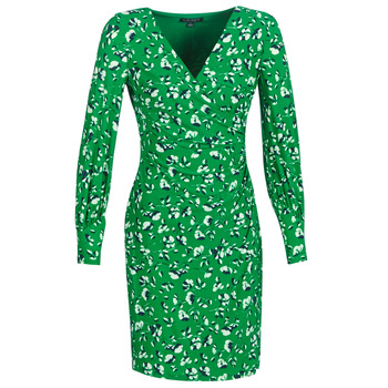 Ruhák Női Rövid ruhák Lauren Ralph Lauren FLORAL PRINT-LONG SLEEVE-JERSEY DAY DRESS Zöld