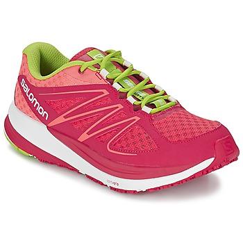 Cipők Női Futócipők Salomon SENSE PULSE WOMAN Rózsaszín / Narancssárga / Zöld