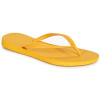 Cipők Női Lábujjközös papucsok Havaianas SLIM Citromsárga
