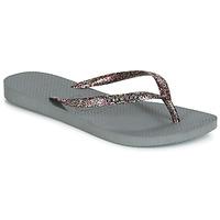 Cipők Női Lábujjközös papucsok Havaianas SLIM LOGO METALLIC Szürke