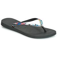 Cipők Női Lábujjközös papucsok Havaianas SLIM STRAPPED Fekete