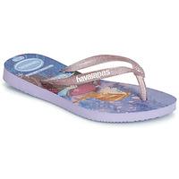 Cipők Lány Lábujjközös papucsok Havaianas KIDS SLIM FROZEN Lila