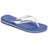 Cipők Lábujjközös papucsok Havaianas BRASIL LOGO Fehér / Tengerész