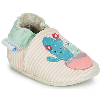 Cipők Lány Baba mamuszok Robeez CACTUS Ekrü / Rózsaszín
