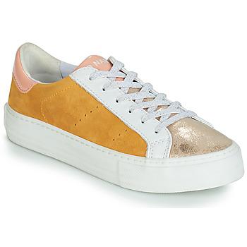 Cipők Női Rövid szárú edzőcipők No Name ARCADE Fehér / Arany / Citromsárga
