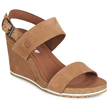 Cipők Női Szandálok / Saruk Timberland CAPRI SUNSET WEDGE Barna