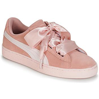 Cipők Lány Rövid szárú edzőcipők Puma JR SUEDE HEART JEWEL.PEACH Rózsaszín