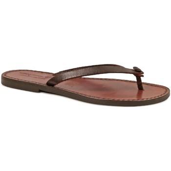 Cipők Női Lábujjközös papucsok Gianluca - L'artigiano Del Cuoio 540 D MORO CUOIO Testa di Moro