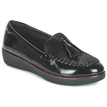 Cipők Női Mokkaszínek FitFlop PAIGE FAUX-PONY Fekete