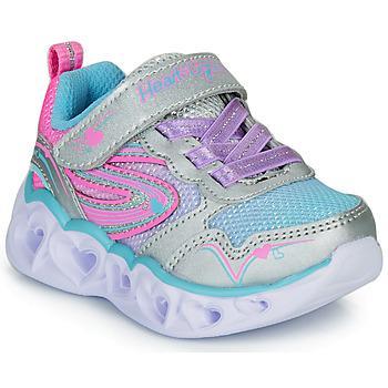 Cipők Lány Rövid szárú edzőcipők Skechers HEART LIGHTS Ezüst / Rózsaszín / Led