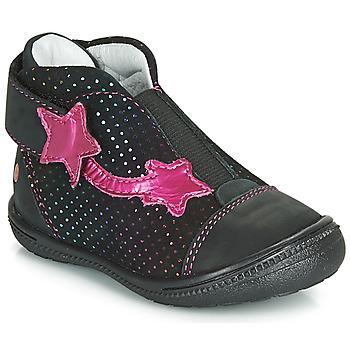 Cipők Lány Csizmák GBB NOLWENN Fekete  / Rózsaszín