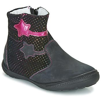 Cipők Lány Csizmák GBB NADIA Fekete  / Rózsaszín