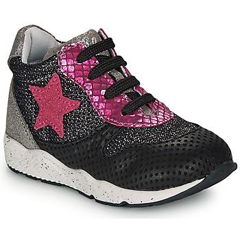 Cipők Lány Rövid szárú edzőcipők Ikks KAREN Fekete  / Rózsaszín