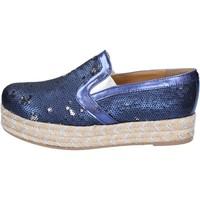 Cipők Női Gyékény talpú cipők Olga Rubini slip on blu tessuto paillettes BS110 Blu