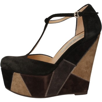 Cipők Női Szandálok / Saruk Gianni Marra zeppe nero camoscio grigio AK894 Nero