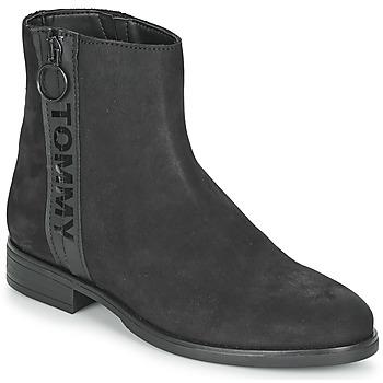Cipők Női Csizmák Tommy Jeans TOMMY JEANS ZIP FLAT BOOT Fekete