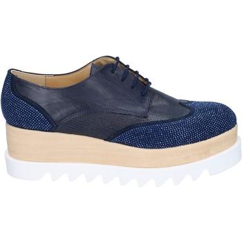 Cipők Női Oxford cipők & Bokacipők Olga Rubini classiche blu pelle sintetica camoscio strass BS96 Blu