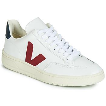Cipők Rövid szárú edzőcipők Veja V-12 LEATHER Fehér / Kék / Piros