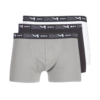 Fehérnemű Férfi Boxerek DIM COTON STRETCH X3 Fekete  / Szürke / Fehér