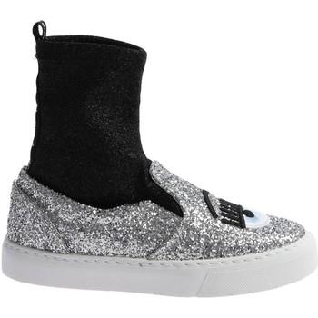Cipők Női Magas szárú edzőcipők Chiara Ferragni CF 2094 SILVER-BLACK argento
