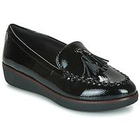 Cipők Női Mokkaszínek FitFlop PETRINA MOCASSIN Fekete