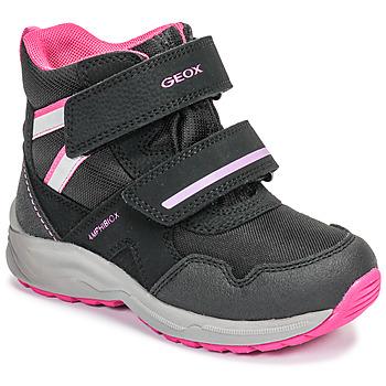 Cipők Lány Hótaposók Geox J KURAY GIRL B ABX Fekete  / Rózsaszín