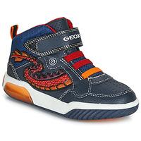 Cipők Fiú Magas szárú edzőcipők Geox J INEK BOY Kék / Piros / Led